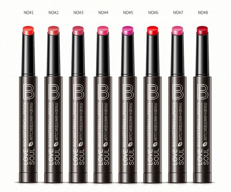 Rich Soft Pencil Lipstick 8color Moisturizing Smooth Lipstick Makeup Lustrous Waterproof Long Lasting Lip Gloss Tint Red Lip Pen Beauty Essentials Beauty & Health
