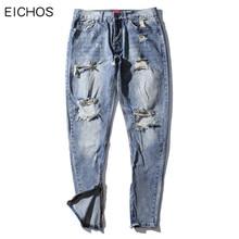 EICHOS Fastion Men's Ripped Jeans High Quality Cotton Mens Hip Hop Baggy Jeans Holes Leg Opening Zipper Mens Cowboy Pants