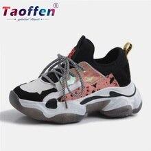 цены на Taoffen Genuine Leather Mesh Running Shoes Women Sneakers Casual Leopard Sports Shoes Outdoor Fitness Wedges Footwear Size 35-42  в интернет-магазинах