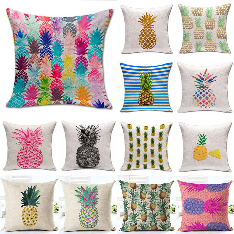 1Pcs Pineapple Pattern Cotton Linen Throw Pillow Cushion Cover Seat Car Home Decoration Sofa Decor Decorative Pillowcase 40171