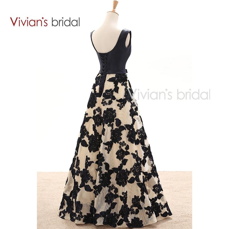Vivian's Bridal Elegant A Line Evening Dresses Satin Floral Print Lace Long Formal Evening Gown Floor Length Women Party Dresses 11