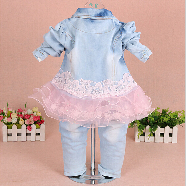 3f31f8556b1d Baby Girl Clothes New Spring Autumn Baby Suits Newborn Girls Denim Gauze  Lace Three Piece Set Suit for Infant Baby Girl Outfit -in Clothing Sets  from Mother ...