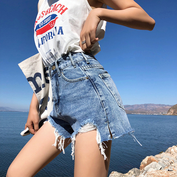 Streetwear Denim Shorts For Women Summer High Waist Ripped Cool Blue And Black Shorts With Tassel Pockets Mini Short Jeans Women's Bottoms