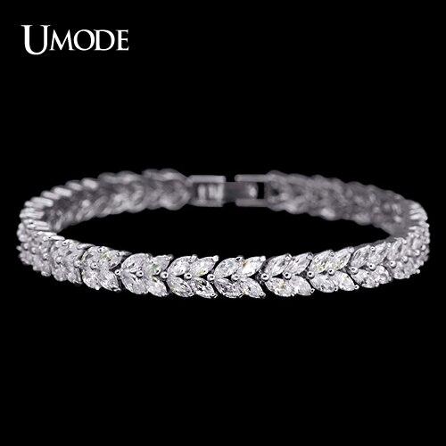 UMODE Blé Conception De Tennis Bracelet & Bracelet pour Les Femmes Femme Bracelet Bracelet avec Marquise Cut Cubique Zircone Pierre UB0035