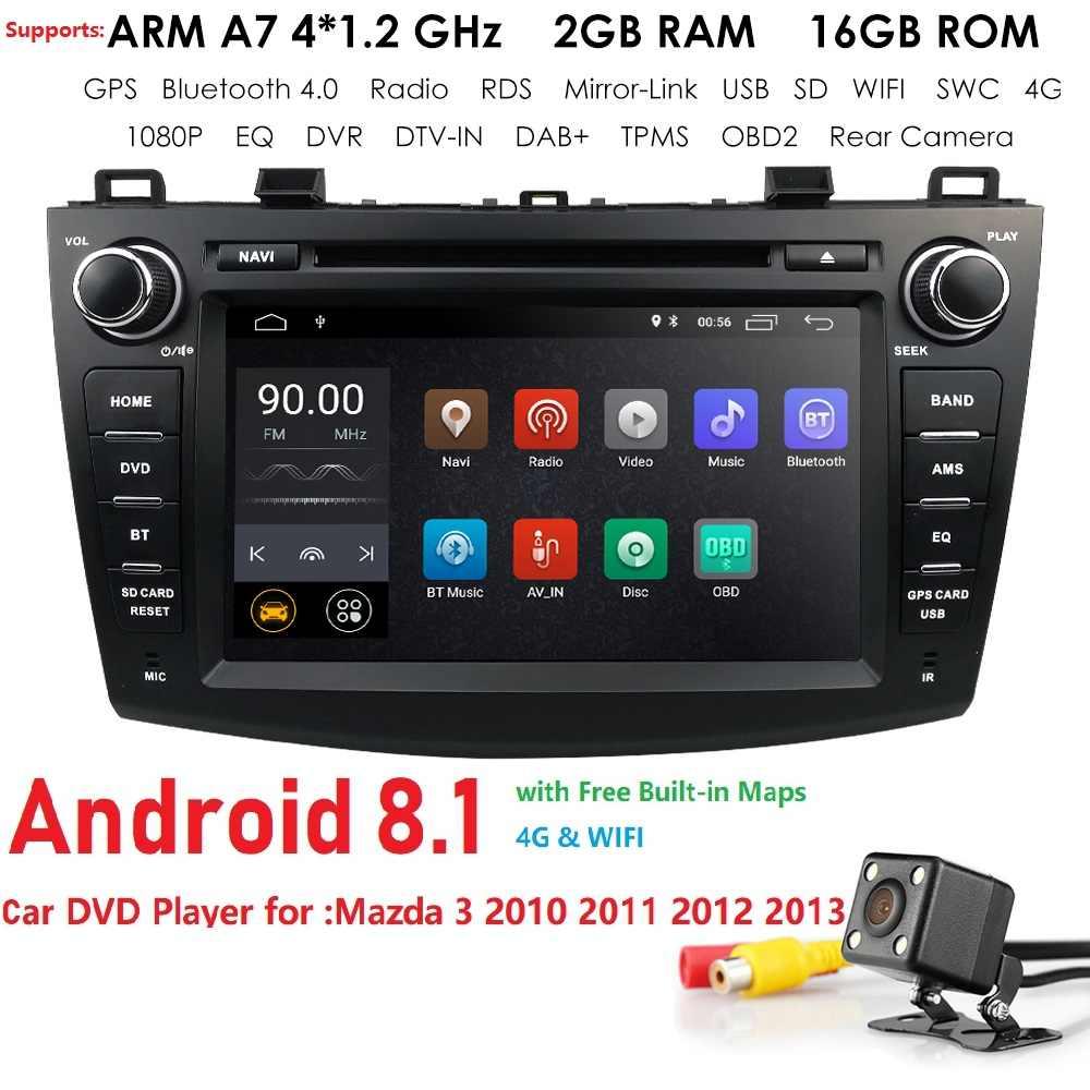 8 дюймов Android 8,1 Автомобильный DVD Радио стерео плеер для Mazda 3 2010-2013 1024*600 ips экран 4G wifi BT GPS DAB SD DVR Бесплатная камера