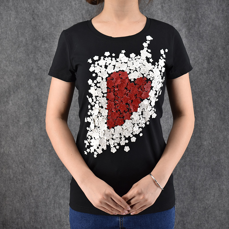 Ton women short sleeve t shirt 3d flower print lovely for T shirt design sleeve print