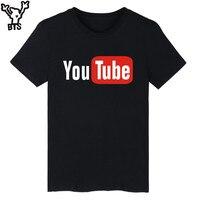 Funny Youtube Logo Black Printed Cotton T Shirt Men With 4XL You Tube Men T Shirt