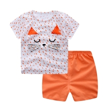 WYNNE GADIS Summer Baby Girls Clothing Sets Cartoon Cat Short Sleeve O Neck T-shirt Tops + Casual Shorts Kids Two Pieces Suits