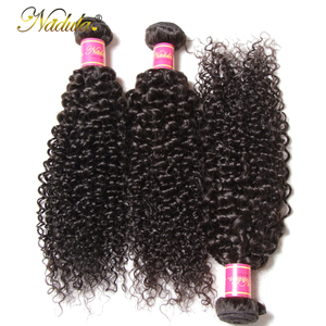Image 3 - Nadula saç brezilyalı kıvırcık saç örgü 3 adet/4 adet brezilyalı Remy saç demetleri anlaşma 100% kıvırcık insan saçı uzatma 8 26 inç