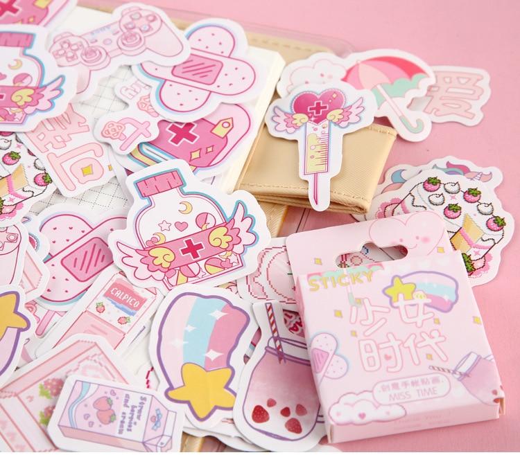 Серия Mohamm Girl, милые наклейки Kawaii в коробке, планировщик для скрапбукинга, канцелярские товары, японский дневник, наклейки