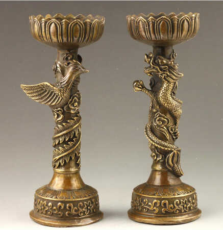 SUIRONG---407+++Chinese Handmade Fine Dragon And Phoenix Bronze Candlestick Pair Statue Statue