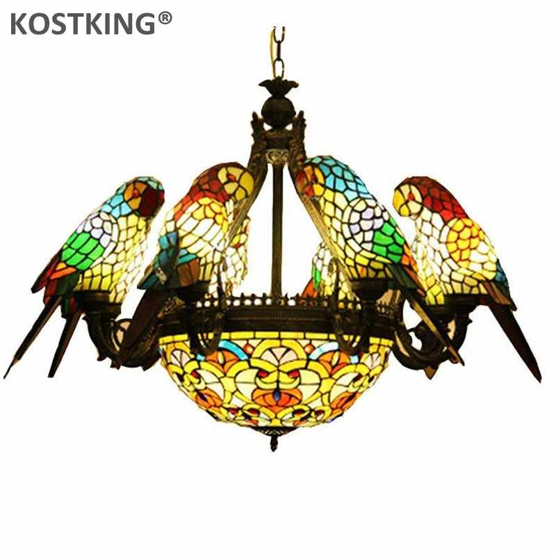 KOSTKING Modern Led Chandeliers Hand-made Glass Parrot Lampshade Lights for Living Room Tiffany Lampara Indoor Lighting Fixtures