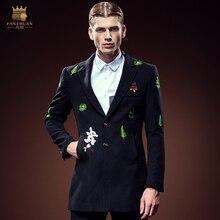 Бесплатная Доставка Новый мужской моды для мужчин fanzhuan длинное пальто завод цветы растения вышитые зимнее пальто 0051 В Продаже верхней одежды