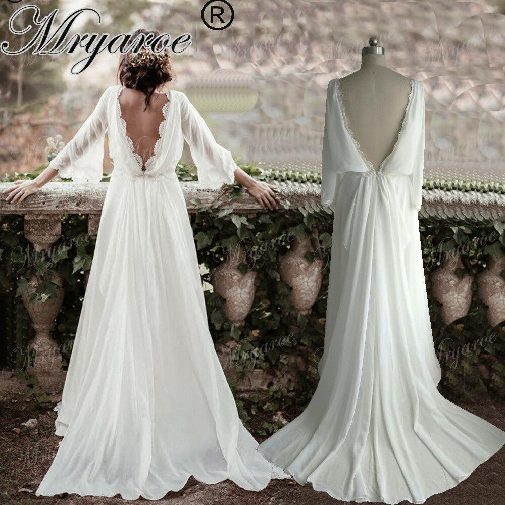 Mryarce Chiffon Sommer Hippie Stil Hochzeit Kleid Lang Flare Sleeves ...
