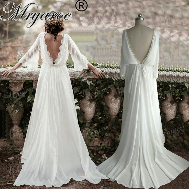 Hairstyle For Wedding Dress Type: Mryarce Chiffon Summer Hippie Style Wedding Dress Long