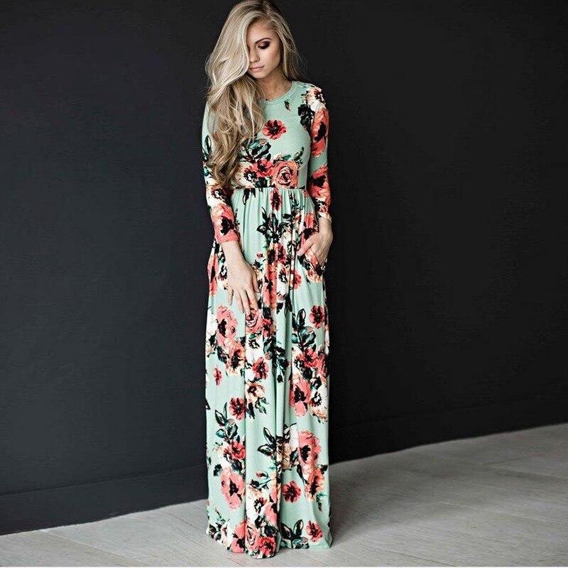 Longues Mode Patchwork Cou Imprimé Plage O Robe Maxi Robes Casual New De Femmes Summer Fleurs Floral 2018 qtwxUHP00