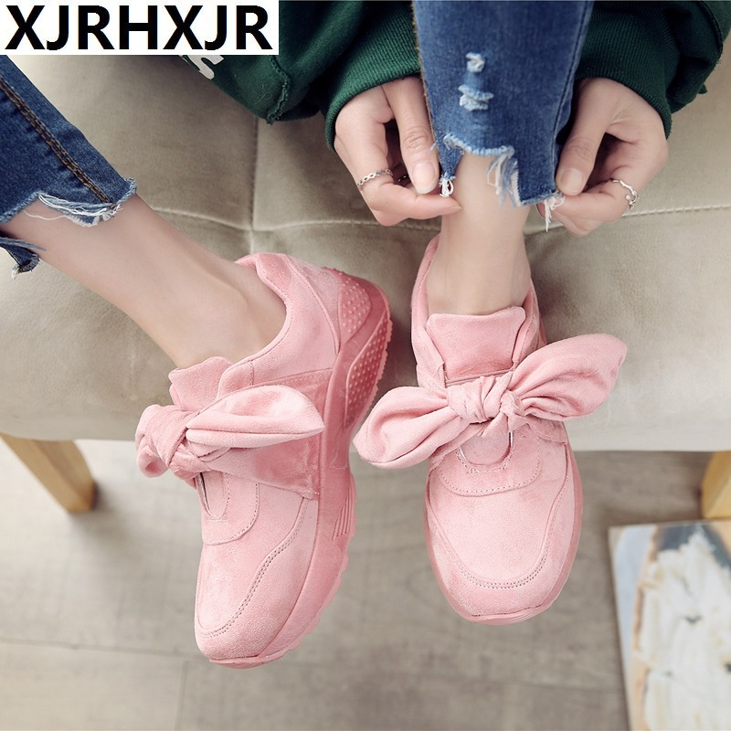 Size 36-42 Women's Bow Sneakers Popular Satin Bowknot Running Shoes Cushioning Support Sports Shoes Bowknot Sneakers Women Pink