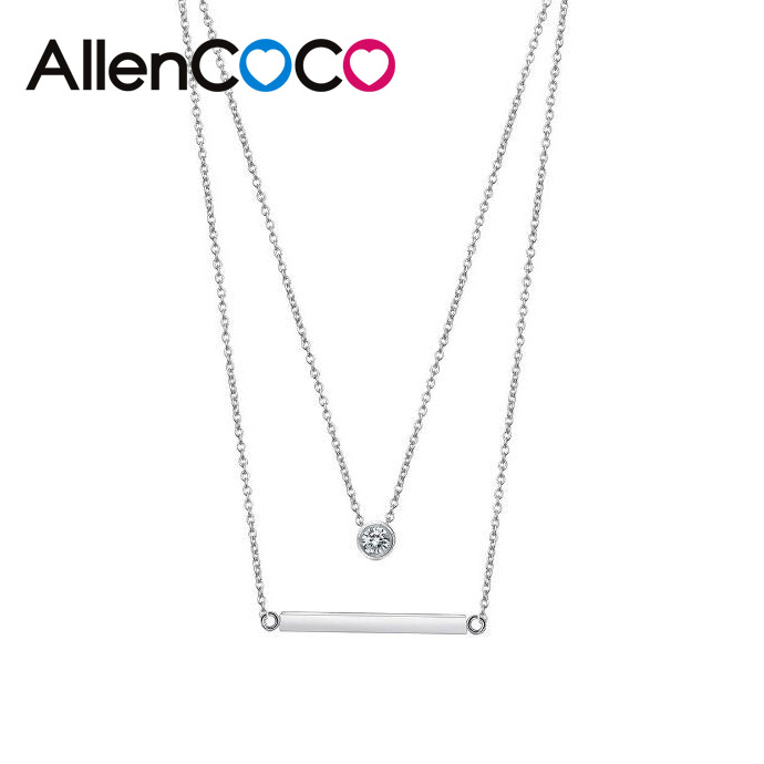 Fashion Single Zircon Double Chains Necklace Silver Color Elegant Line Pendant Clavicle Simple Jewelry for Women