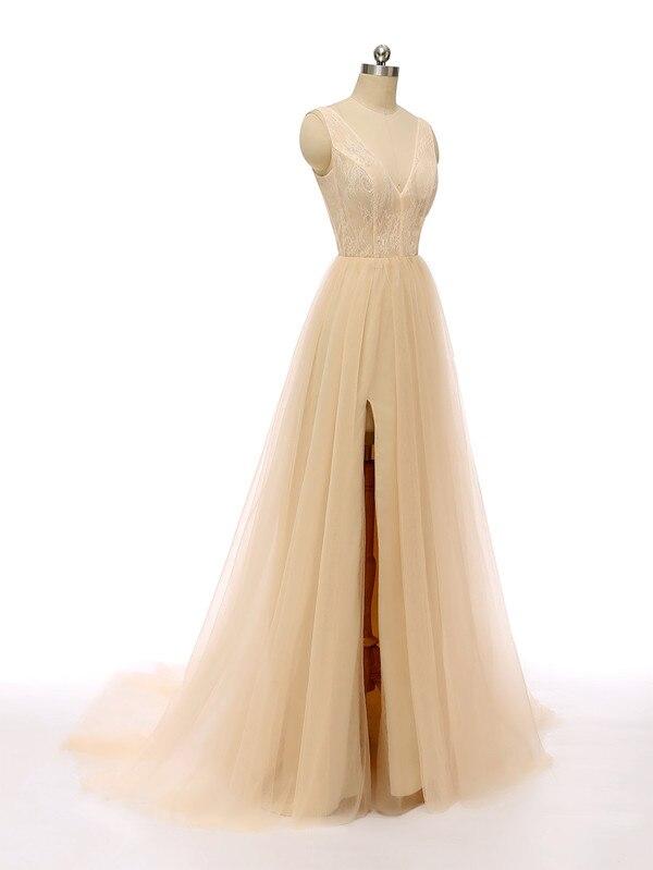Сексуальное вечернее платье с v-образным вырезом, с бусинами, с открытой спиной, а-силуэт, Длинные вечерние платья, вечерние платья с высоким разрезом, фатиновые платья для выпускного вечера - Цвет: Шампанское