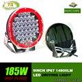 185 w 9 inch Red rodada led luz de condução, levou luz fora de estrada levou luz de trabalho para SUV, ATV, UTV, 4D, use 4X4 15000LM