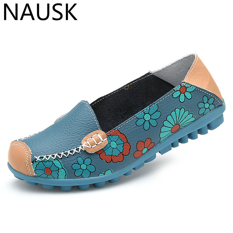 NAUSKNAUSK 2019 Summer Flower Mother Flats Shoes New Fashion Solid Ladies Flats Round Toe Comforable Loafers Casual Women ShoesNAUSKNAUSK 2019 Summer Flower Mother Flats Shoes New Fashion Solid Ladies Flats Round Toe Comforable Loafers Casual Women Shoes