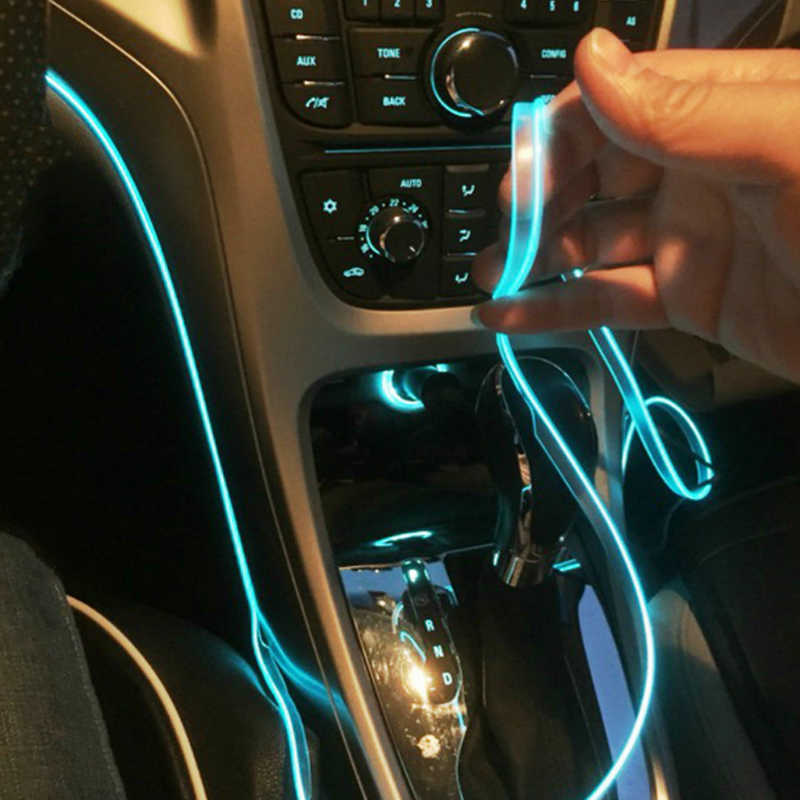 5m car interior accessories atmosphere lamp EL cold light line with USB DIY Decorative Dash board Console Door LED Ambient Light