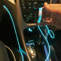 5m accesorios interiores del coche atmósfera lámpara EL línea de luz fría con USB DIY decorativo tablero consola Auto LED fotosensor de luz ambiente