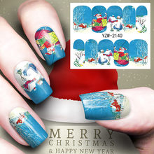Blue Man Christmas Colorful Hristmas Tree Nail Sticker Water Decals Nail Glitter Transfer fashion Nail Art Decoration(China)