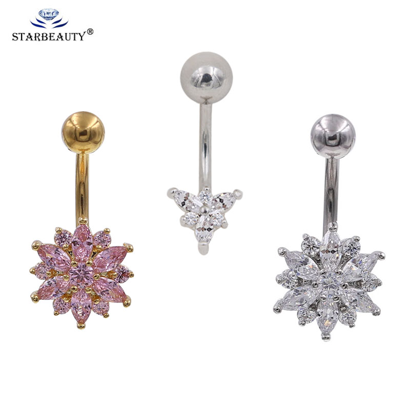 Us 0 97 51 Off Small 1pc Hot Flower Crystal Rhinestone Navel Belly Button Ring Bar Dangle Body Piercing Jewelry Earring Navelbellyring In Body