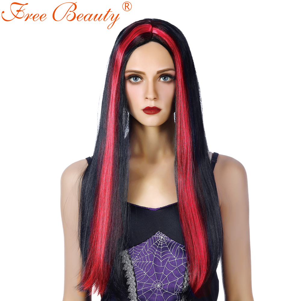 26 Long Black Witch Party Wig Straight Synthetic Hair Wigs For Women Cosplay Custom