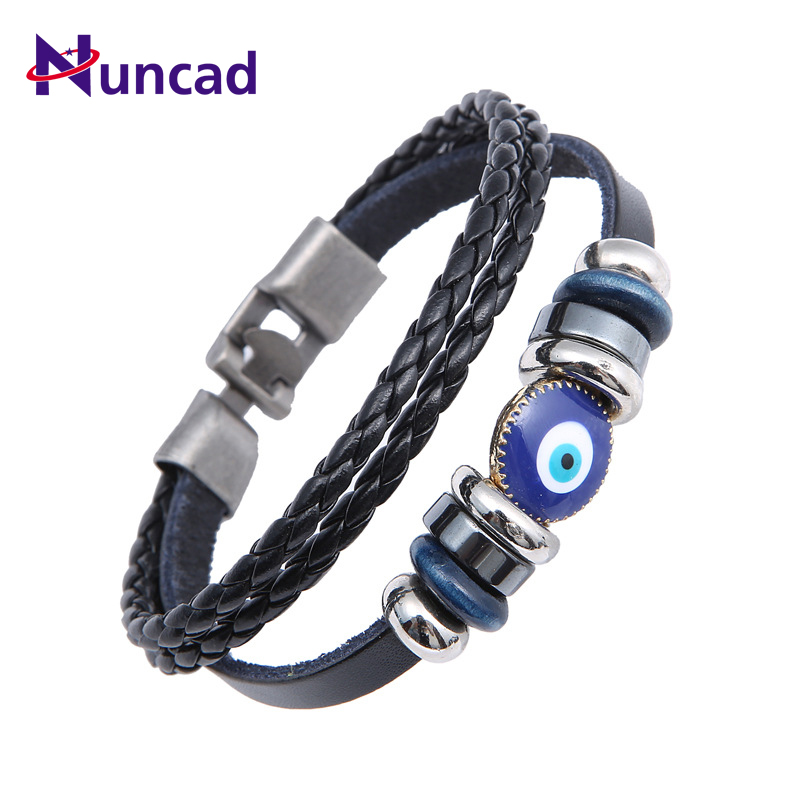 2019 New Punk Turkish Evil Eye Bracelets Wristband Double Layer Weave Leather Bracelet Ethnic Vintage Jewelry For Women Men Браслет