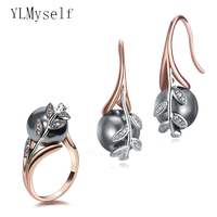 Big discount sale Earrings ring sets Rose gold plate pave grey pearl & cubic zircon Wholesale jewelry set for women