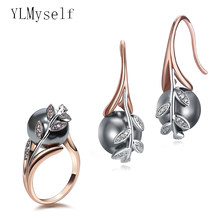 Big discount sale Earrings ring sets Rose gold plate pave grey pearl & cubic zircon Wholesale jewelry set for women(China)