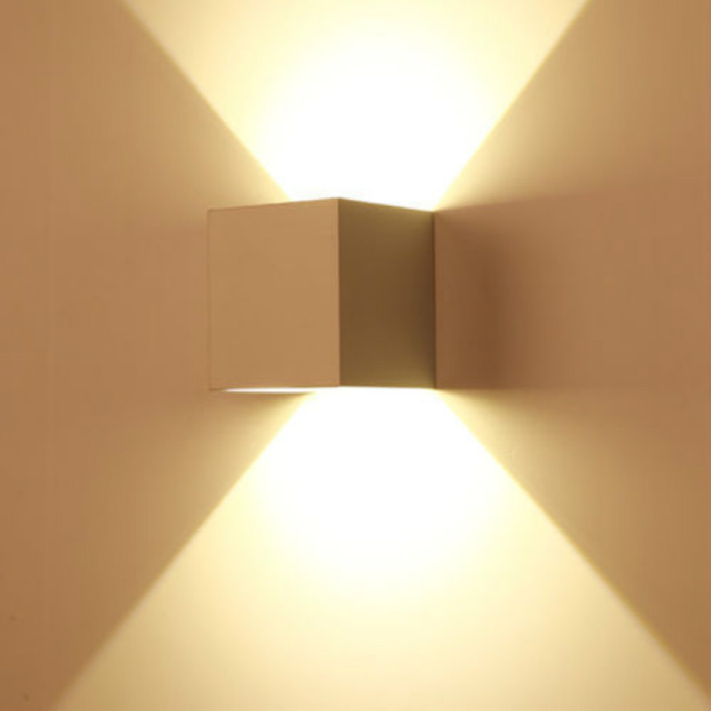 New 7W Modern LED Wall Light Up Down Cube Indoor Outdoor Sconce ...