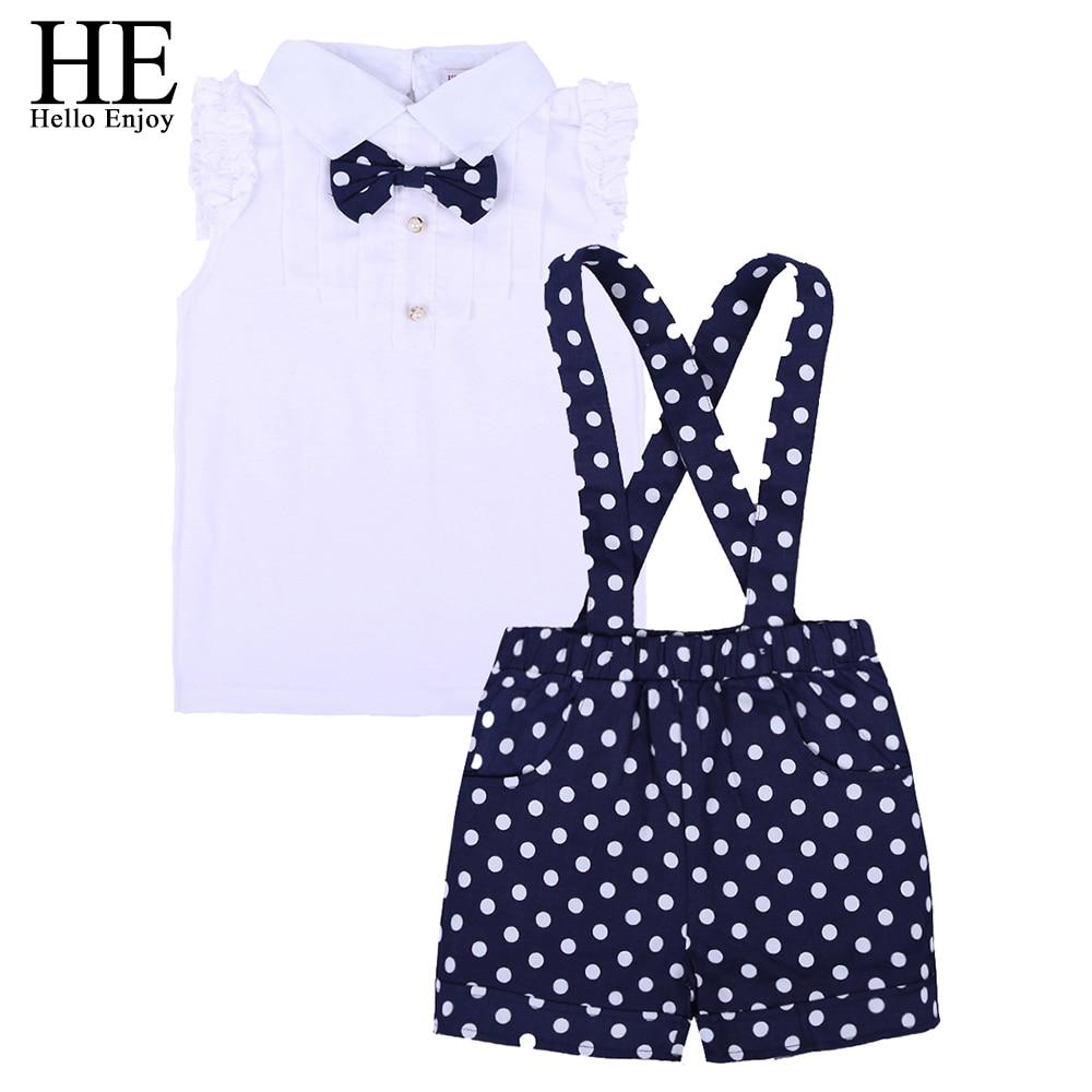 HE Hello Enjoy Toddler Girls Summer Clothing Sleeveless Bow Shirt+Polka Dot Bib Pants Suits Kids Girls Children Clothes New 2018