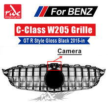 W205 Front Center Mesh Grille ABS Black Without Emblem For Benz GTR Style Tape camera C180 C200 C250 C350 C400 2015+