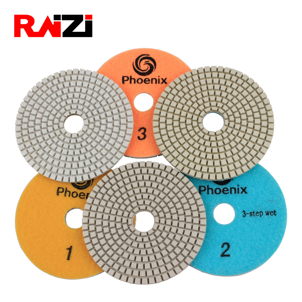 Raizi 3 step 4 inch wet polishing pads for Granite Marble Engineered Stone white resin Grit 1-3