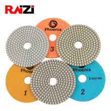 Raizi 3 step 4 inch wet polishing pads for Granite Marble Engineered Stone white resin Grit 1-3