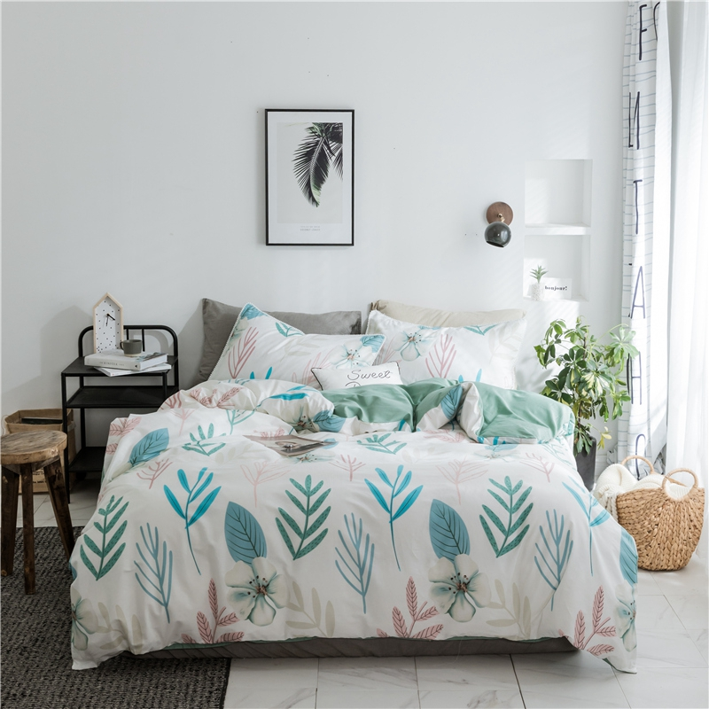 100 cotton plants and flowers bedding sets twin queen king for adults green solid color bed. Black Bedroom Furniture Sets. Home Design Ideas