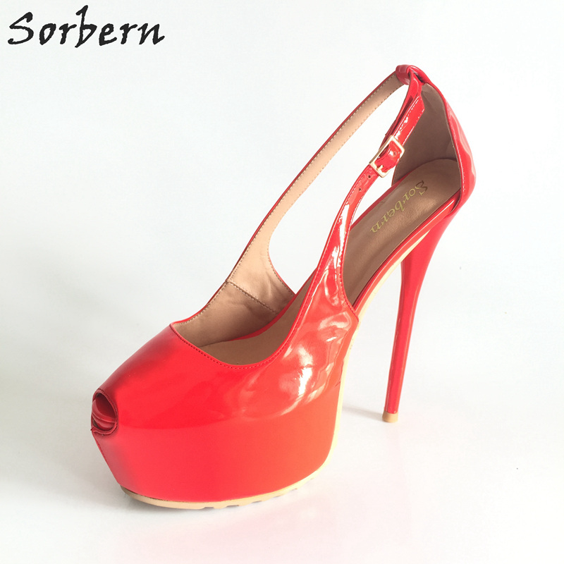 Sorbern Couleurs Épaisse Femmes Piste Talon forme Personnalisé Night Haute Club Super De 48 Plate Pompe Semelle Chaussures Dames Rouge rouge Color Custom 34 rAyPpr