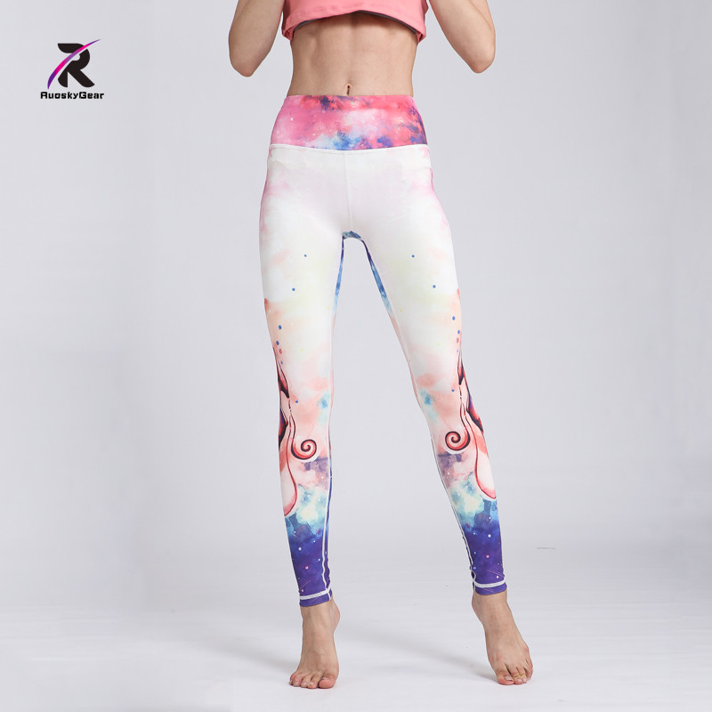New Yoga Pants Women High Waist Fitness Leggings Quick Dry Floral Printed Push Hip Athletic Sport Compression Sport Tights Yoga