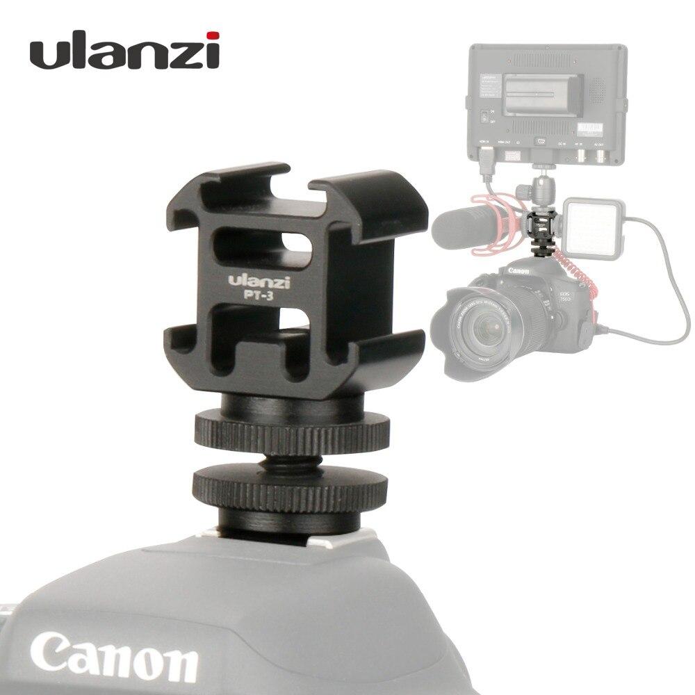 Câmera Adaptador de Montagem de Sapata Fria 3 Ulanzi Estender Porto com BY-MM1 Microfone LED Luz de Vídeo para DSLR Camera Canon Nikon petax