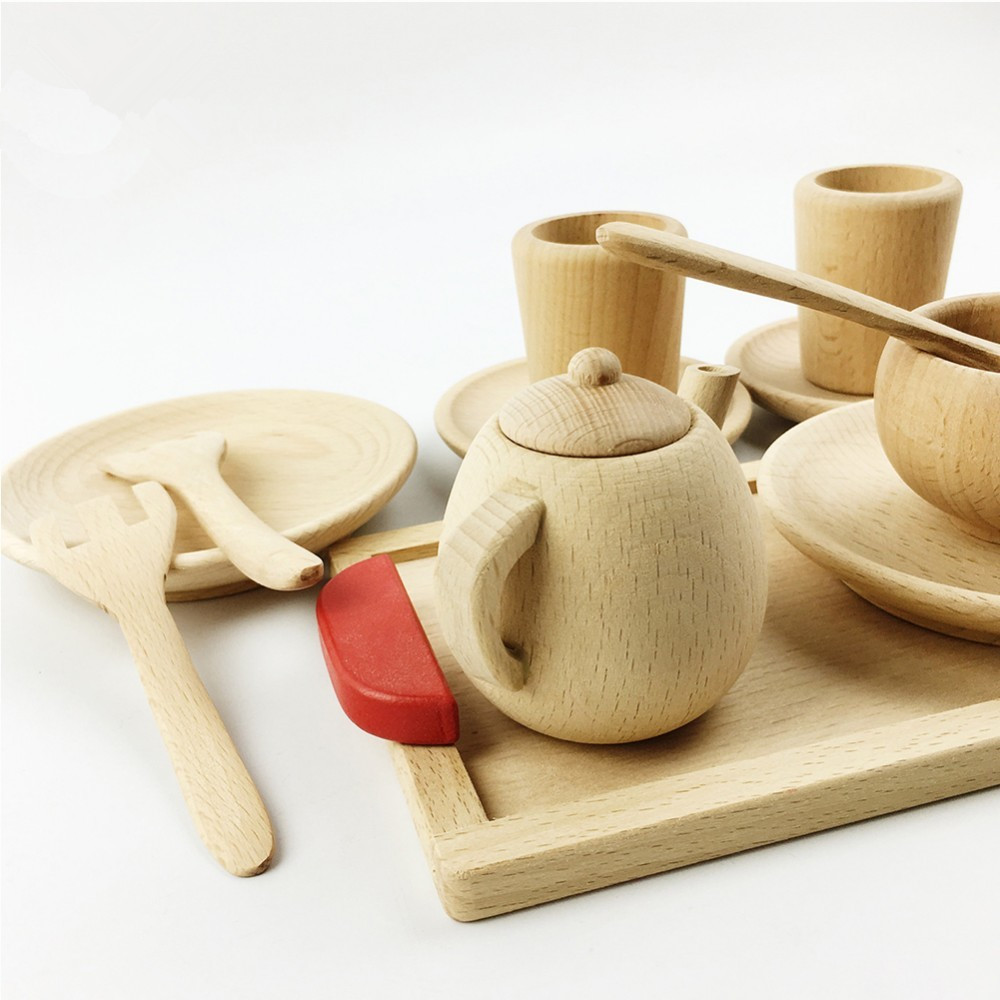 Pretend Play Tea set Wooden Educational Activity Grasping Montessori Toddler Learning Game Waldorf Inspired Toy
