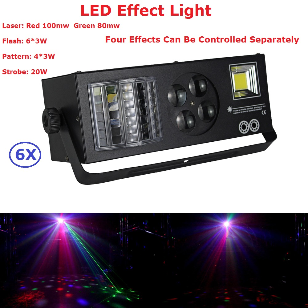 6Pcs/Lot Professional Stage Lights High Brightness 20W Stage Strobe Effect Lights With DMX For Party KTV Home Entertainments