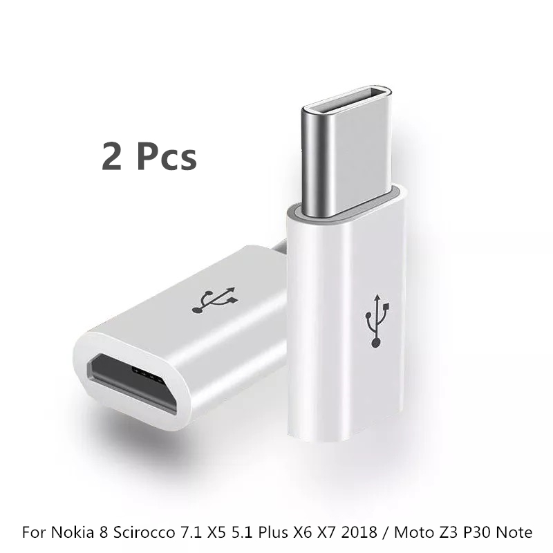 2PCS Baiscxst Type-C To Micro USB Adapter For Nokia 8 Scirocco 7.1 X5 5.1 Plus X6 X7 2018 / Moto Z3 P30 Note Type C USBC Cable