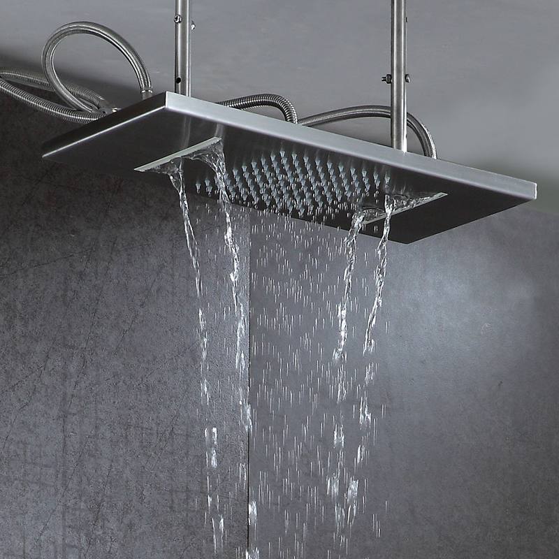 Ceiling Rain Shower Head Brushed Rainfall Waterfall Bathroom Showerhead 2 Functions 304 Stainless Steel B Showers 550*230mm