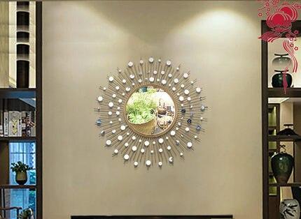 Métal mur décoration canapé fond mur décoration moderne Restaurant salon porche tenture murale miroir