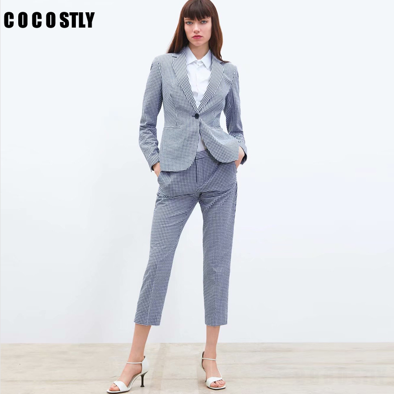 2019 Women Suits Formal Two Piece Small Suit Plaid Set Single Button Blazer High Waist Straight Pants Office Lady Set