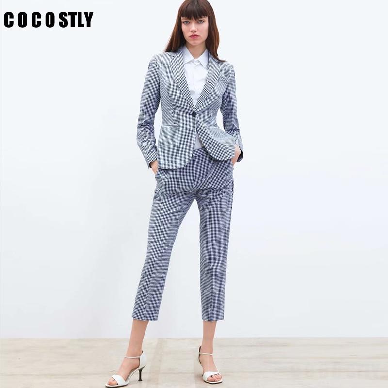 2019 Women Suits Formal Two Piece Small Suit Plaid Set Single Button Blazer High Waist Straight Pants Office Lady Set