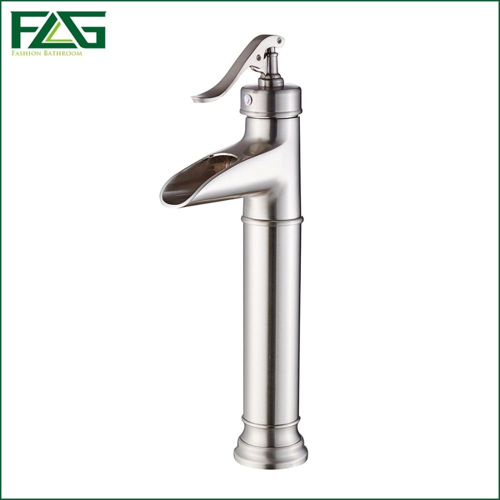 ФОТО FLG Basin Faucet Platform Heightening Sink Brushed Nickel Vanity Waterfall Bathroom Tap Vessel Robinet M198N